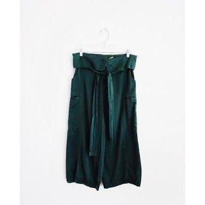 And A Japan Pine Green SIlk Cotton Lantern Pants S